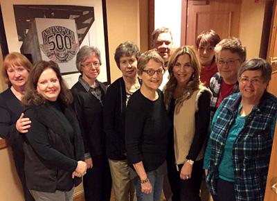 The CWR Board in Indianapolis. From left: Eileen Dickerson, Jennifer Kaminski, Angela Szczawinska, CSFN; Jean merry, Kate Martin, Dave Eck, Stephanie Hall, Rochelle Cassella, Sarah Jenkins, Beth Kress, PBVM.
