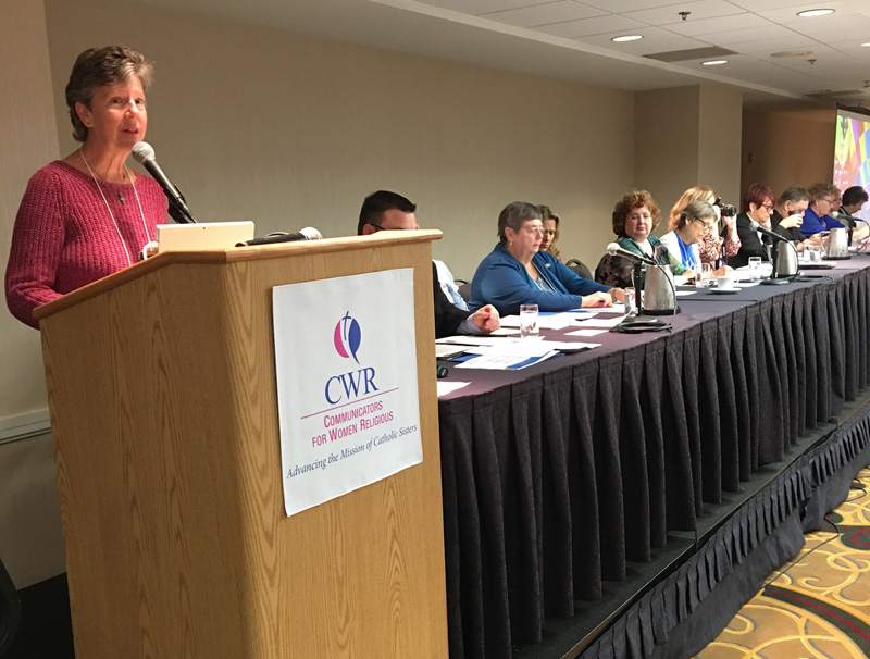 Sister Annmarie Sanders, IHM, gives a report from LCWR at the CWR business meeting Oct. 7 in Indianapolis